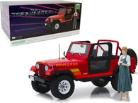 "1983 Jeep CJ-7 Renegade Red with Sarah Connor Figure ""The Terminator"" (1984) Movie 1/18 Diecast Model Car by Greenlight"