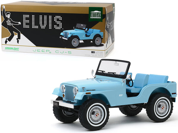 Jeep CJ-5 Sierra Blue Elvis Presley (1935-1977) 1/18 Diecast Model Car by Greenlight