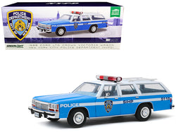 "1988 Ford LTD Crown Victoria Wagon ""NYPD"" (New York City Police Department) Light Blue and White 1/18 Diecast Model Car by Greenlight"