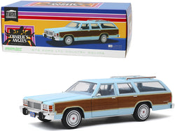 "1979 Ford LTD Country Squire Light Blue with Wood Grain Paneling ""Charlie's Angels"" (1976-1981) TV Series 1/18 Diecast Model Car by Greenlight"