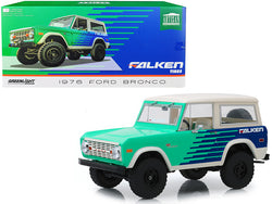 "1976 Ford Bronco Green and Blue with Cream Top ""Falken Tires"" 1/18 Diecast Model Car by Greenlight"