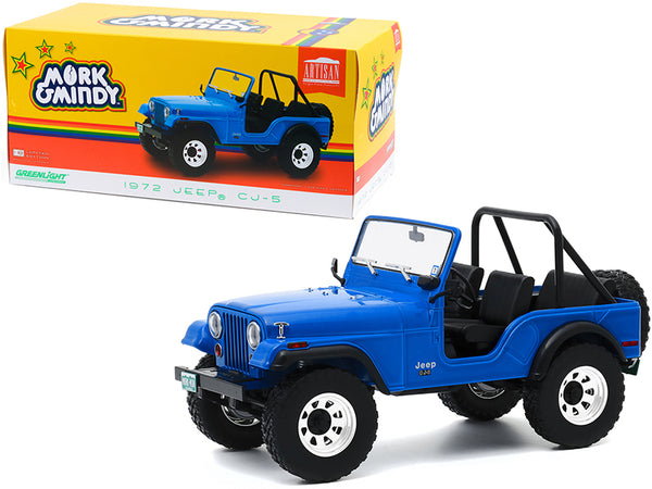 "1972 Jeep CJ-5 Blue ""Mork & Mindy"" (1978-1982) TV Series 1/18 Diecast Model Car by Greenlight"