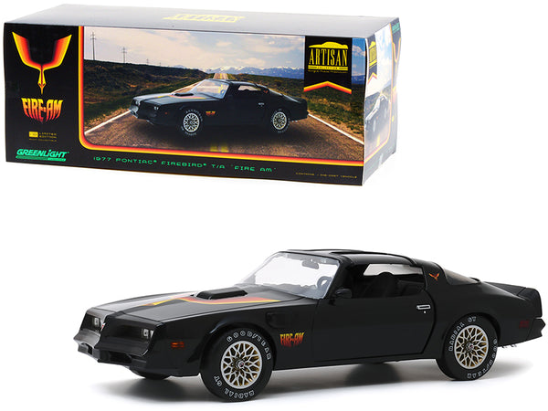 "1977 Pontiac Firebird Trans Am T/A ""Fire Am"" by Very Special Equipment (VSE) Black with Hood Bird 1/18 Diecast Model Car by Greenlight"