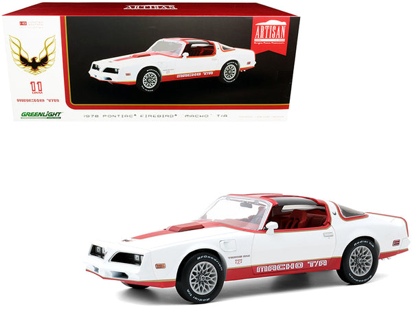 "1978 Pontiac Firebird Macho T/A ""Trans Am"" (#171 of 204 by Mecham Design) White and Red with Red Interior 1/18 Diecast Model Car by Greenlight"