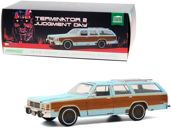 "1979 Ford LTD Country Squire Light Blue with Wood Grain Paneling (Weathered) ""Terminator 2: Judgment Day"" (1991) Movie 1/18 Diecast Model Car by Greenlight"