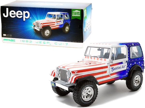 "1982 Jeep CJ-7 ""Santini Air"" with American Flag Graphics 1/18 Diecast Model by Greenlight"