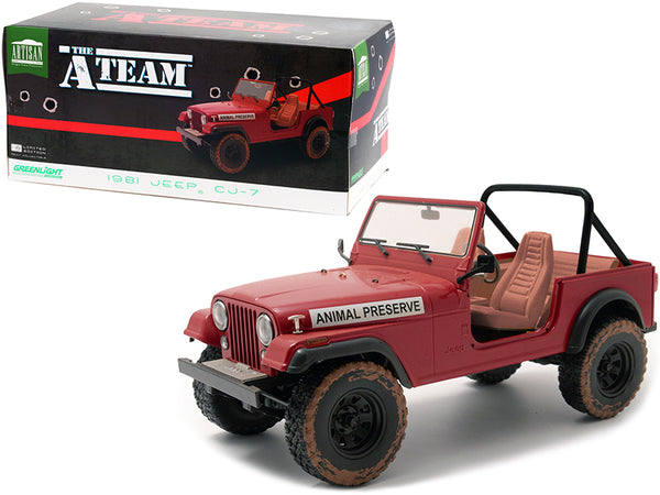 "1981 Jeep CJ-7 ""Animal Preserve"" Red (Dirty Version) ""The A-Team"" (1983-1987) TV Series 1/18 Diecast Model by Greenlight"