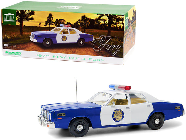 "1975 Plymouth Fury ""Osage County Sheriff"" Blue and White 1/18 Diecast Model Car by Greenlight"