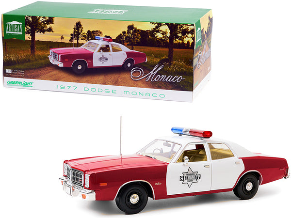 "1977 Dodge Monaco ""Finchburg County Sheriff"" Burgundy and White 1/18 Diecast Model Car by Greenlight"