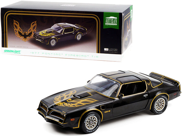 1977 Pontiac Firebird T/A Trans Am Starlite Black with Golden Eagle Hood 1/18 Diecast Model Car by Greenlight