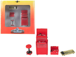 Tire Brigade 4 piece Tool Set Red 1/24 by Motorhead Miniatures
