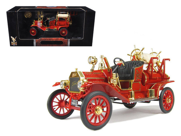 "1914 Ford ""Model T"" Fire Engine Red 1/18 Diecast Model Car by Road Signature"