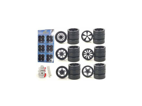 Wheels and Tires Multipack (24 Piece Set) for 1/18 Scale Diecast Model Cars and Trucks