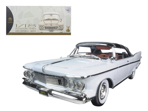 1961 Chrysler Imperial Crown White with Brown Interior 1/18 Diecast Model Car by Road Signature