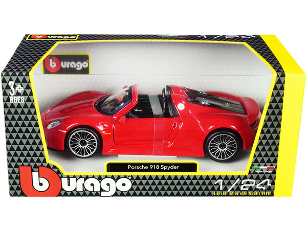 Porsche 918 Spyder Convertible Red 1/24 Diecast Model Car by Bburago