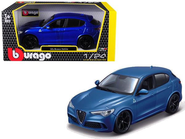 Alfa Romeo Stelvio Quadrifoglio Blue 1/24 Diecast Model Car by Bburago