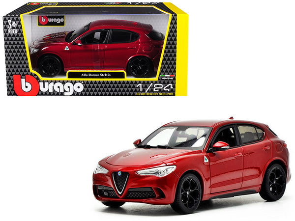 Alfa Romeo Stelvio Quadrifoglio Red 1/24 Diecast Model Car by Bburago