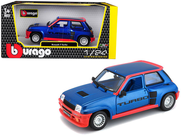 Renault 5 Turbo Metallic Blue with Red Accents 1/24 Diecast Model Car by Bburago