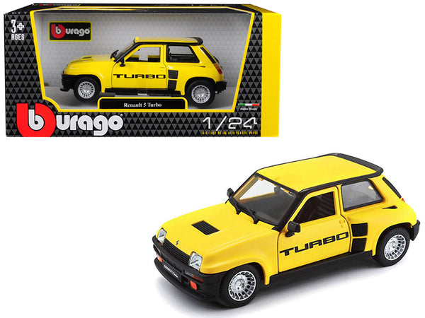 Renault 5 Turbo Yellow with Black Accents 1/24 Diecast Model Car by Bburago
