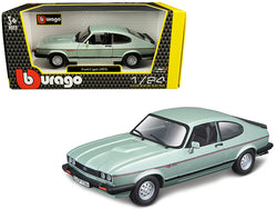 1973 Ford Capri Light Green Metallic 1/24 Diecast Model Car by Bburago