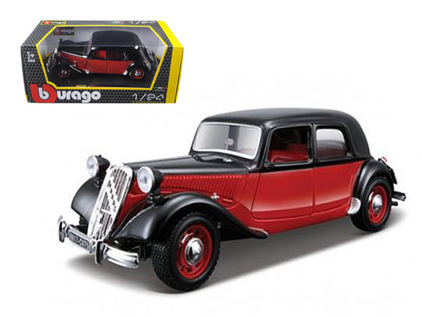 1938 Citroen 15 CV TA Black and Red 1/24 Diecast Model Car by Bburago