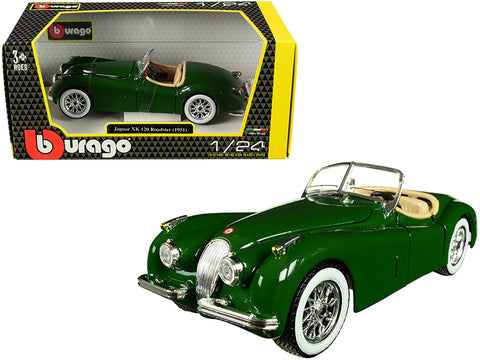 1951 Jaguar XK 120 Roadster Green 1/24 Diecast Model Car by Bburago