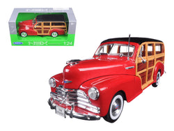1948 Chevrolet Woody Wagon Fleetmaster Red 1/24 Diecast Model Car by Welly