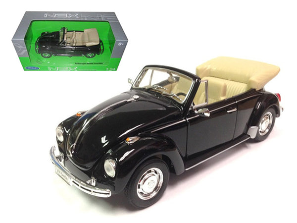 Volkswagen Beetle Convertible Black 1/24 Diecast Model Car by Welly