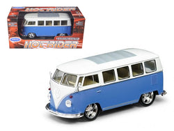 "1962 Volkswagen Classic Bus ""Low Rider"" Blue 1/24 Diecast Model by Welly"