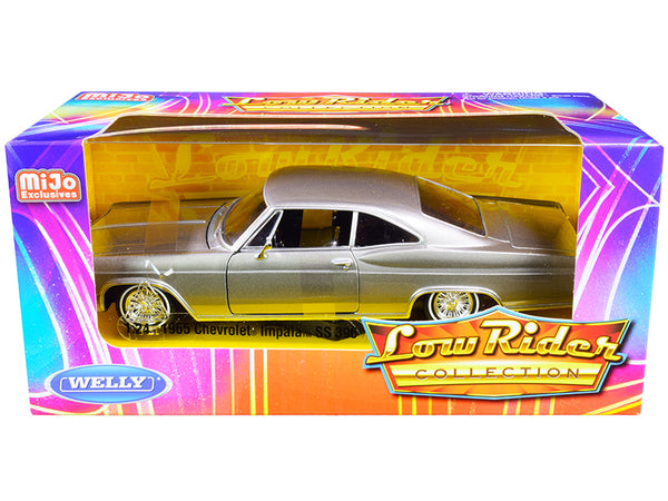 "1965 Chevrolet Impala SS 396 Gray Metallic ""Low Rider Collection"" 1/24 Diecast Model Car by Welly"