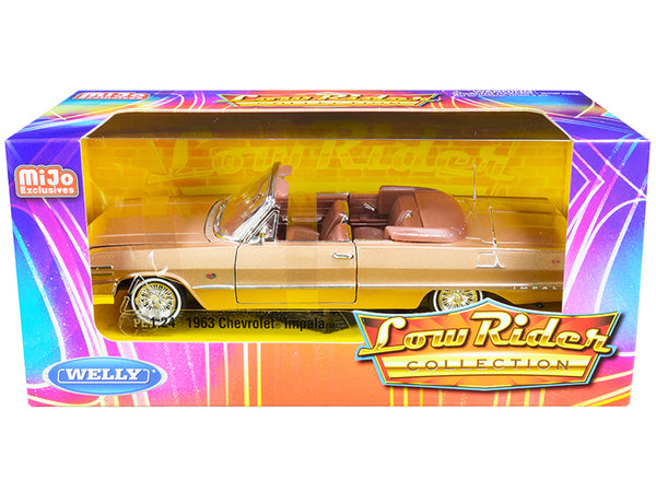 "1963 Chevrolet Impala Convertible Gold ""Low Rider Collection"" 1/24 Diecast Model Car by Welly"