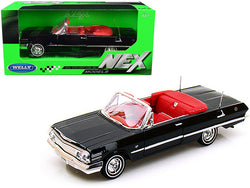 1963 Chevrolet Impala Convertible Black with Red Interior 1/24 Diecast Model Car by Welly