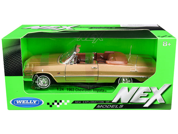 "1963 Chevrolet Impala Convertible Gold ""NEX Models"" 1/24 Diecast Model Car by Welly"