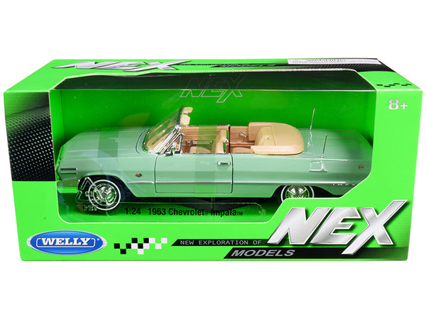 "1963 Chevrolet Impala Convertible Light Green ""NEX Models"" 1/24 Diecast Model Car by Welly"