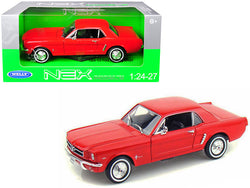 1964 1/2 Ford Mustang Coupe Hard Top Red 1/24-1/27 Diecast Model Car by Welly