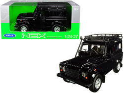 Land Rover Defender with Roof Rack Black 1/24-1/27 Diecast Model Car by Welly