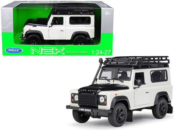 Land Rover Defender with Roof Rack White and Black 1/24-1/27 Diecast Model Car by Welly