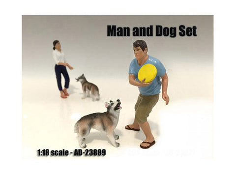 Man and Dog (2 Piece Figure Set) For 1:18 Diecast Models by American Diorama