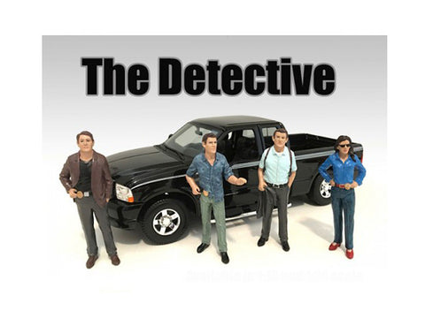"""The Detectives"" (4 Piece Figure Set) For 1:18 Scale Diecast Models by American Diorama"