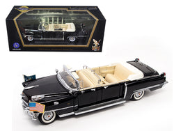 1956 Cadillac Series 62 Parade Limousine Black with Flags 1/24 Diecast Model Car by Road Signature