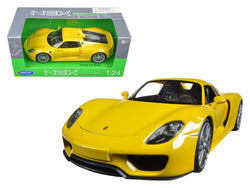 Porsche 918 Spyder Yellow Closed Roof 1/24 Diecast Model Car by Welly