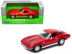 1963 Chevrolet Corvette Red 1/24 - 1/27 Diecast Model Car by Welly