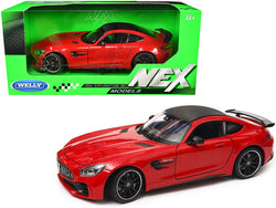 "Mercedes AMG GT R Red with Carbon Top ""NEX Models"" 1/24 Diecast Model Car by Welly"