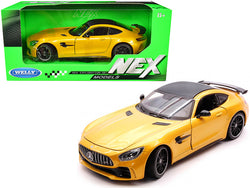 "Mercedes AMG GT R Yellow Metallic with Carbon Top ""NEX Models"" 1/24 Diecast Model Car by Welly"