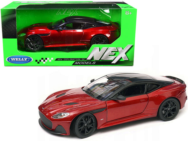 "Aston Martin DBS Superleggera Red Metallic with Black Top ""NEX Models"" 1/24 Diecast Model Car by Welly"