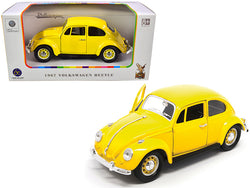 1967 Volkswagen Beetle Yellow 1/24 Diecast Model Car by Road Signature