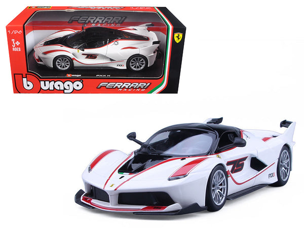 Ferrari Racing FXX-K #75 White 1/24 Diecast Model Car by Bburago