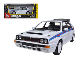 Lancia Delta Integrale HF White With Martini Stripes 1/24 Diecast Model Car by Bburago