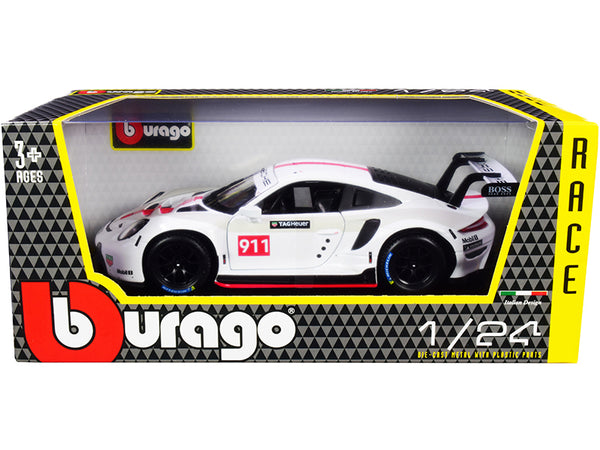"Porsche 911 RSR GT #911 White ""Race"" Series 1/24 Diecast Model Car by Bburago"