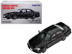 2000 Nissan Skyline 25GT-V RHD (Right Hand Drive) Metallic Black 1/64 Diecast Model Car by TomyTec